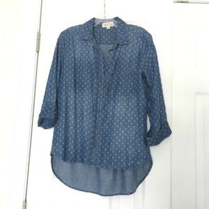Anthropologie Cloth & Stone Chambray dotted shirt